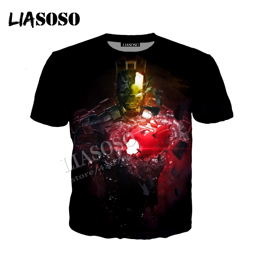 LIASOSO latest 3D print cozy polyester sportswear Marvel movie anime iron man Stark creative zipper hooded shirt men women CX647