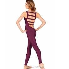 Женская спортивная одежда Yogawear, костюм из спандекса, Женский костюм для танцев, спортивный комбинезон для взрослых, балетная одежда с большим ремешком на спине, трико