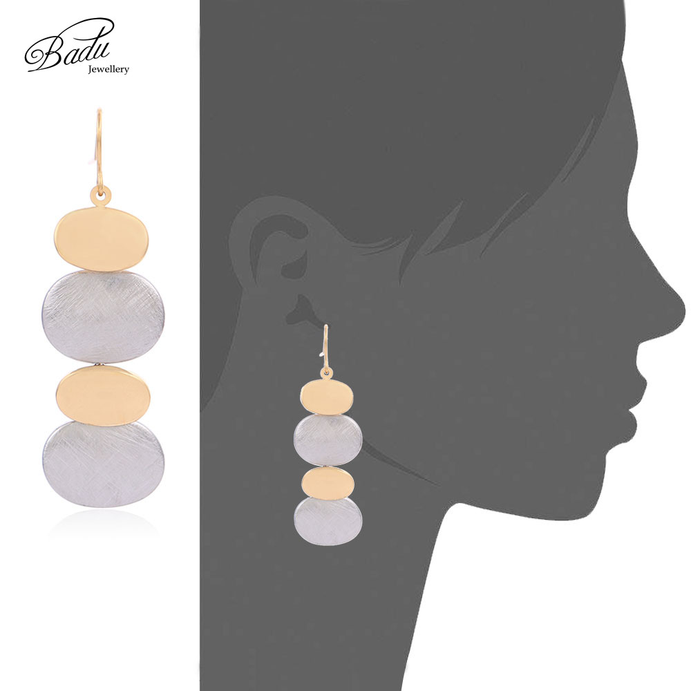 Badu Gold Silver Stainless Steel Earrings for Women Delicate Metallic Round Circle Rings Earring Fashion Jewelry Wholesale in Drop Earrings from Jewelry Accessories