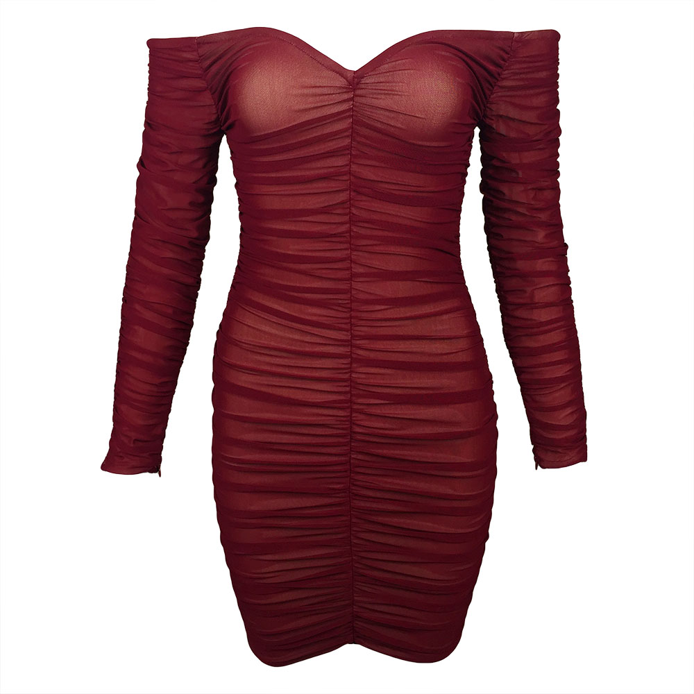 2019 Women New Arrival Sexy Wine Red Beige Wrist Sleeve Slash Neck Vestidos Celebrity Mini Cocktail