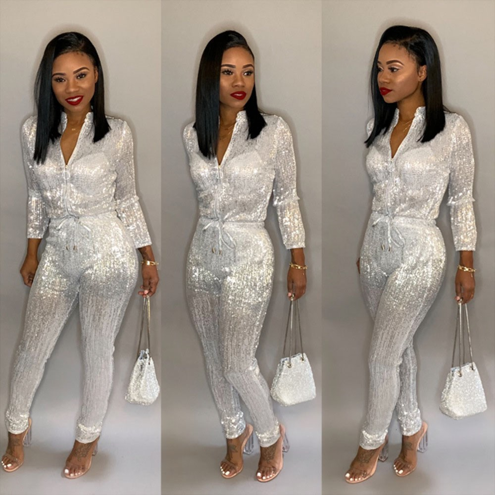 3XL Women Jumpsuit Zipper Turtleneck Long Sleeve sequin Romper Club Party Overalls Female Plus Size Jumpsuit in Jumpsuits from Women 39 s Clothing
