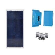 TUV Solar Panel Module Kit 18v 20w 12v Battery Charger Charge Controller LCD 12v/24v 10A PWM Motorhome Car