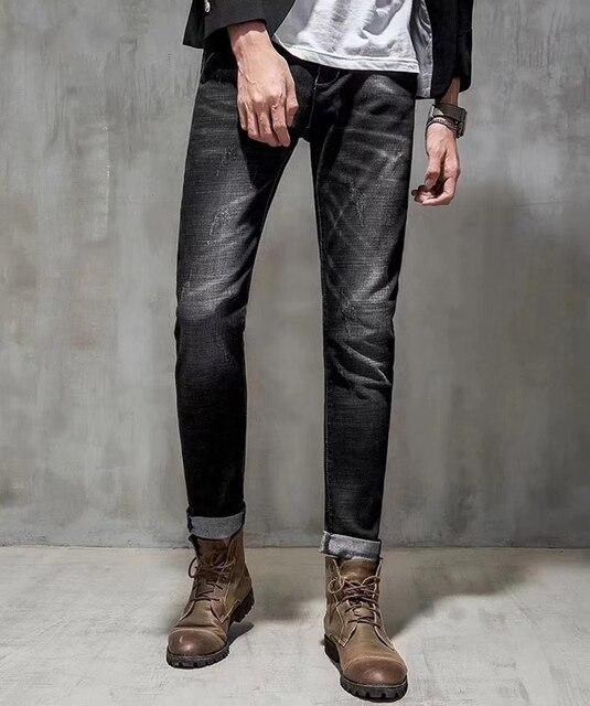 Ben noto 2017 Autunno Inverno Nuovo Brand Grigio Scuro Strappati Jeans Uomo  IE28