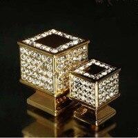 30mm Fashion Deluxe Glass Diamond Villadom Furniture Knobs 24K Gold Dresser Cabinet Knobs Pulls Shiny Silver