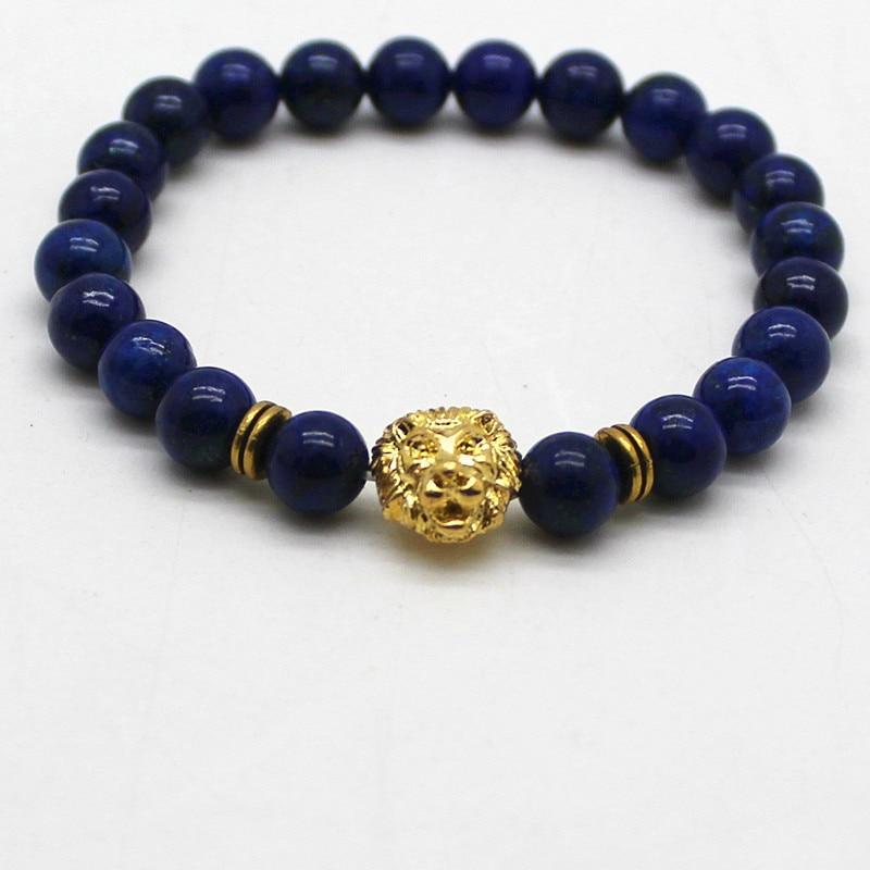 Természetes kövek Ezüst arany réz oroszlán varázslatos karkötők Lapis Lazuli gyöngyökkel Férfi karkötők Női Wrap Ékszer kiegészítők