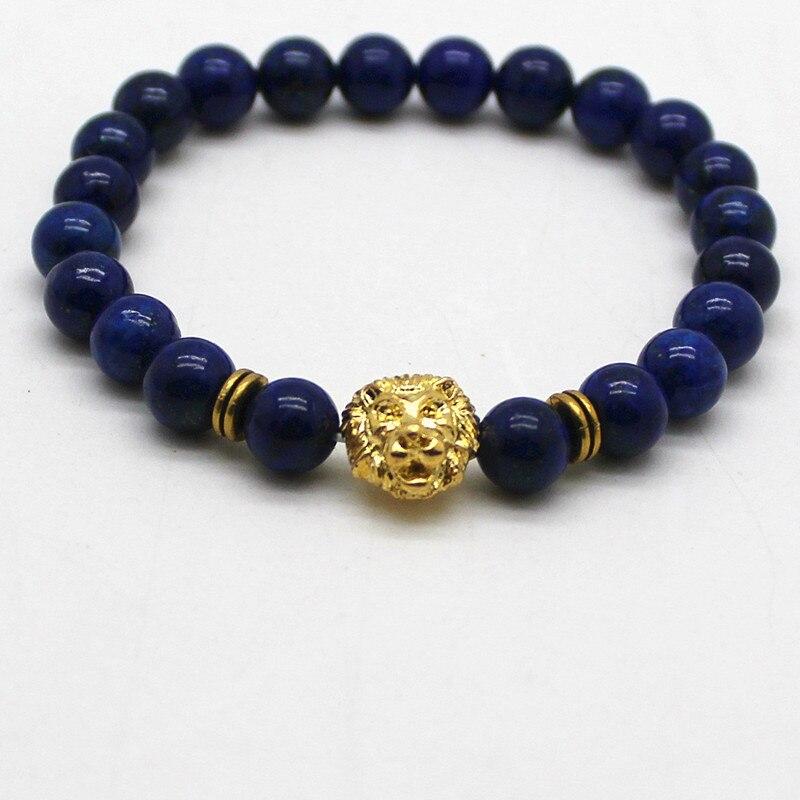 Natural Stones Silver Gold Copper Lion Charm Bracels