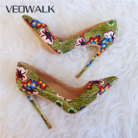 Veowalk Floral Patterns Printed Women Sexy Super High Heels Ladies Pointed Toe Stilettos Pumps Fashion African Dress Shoes