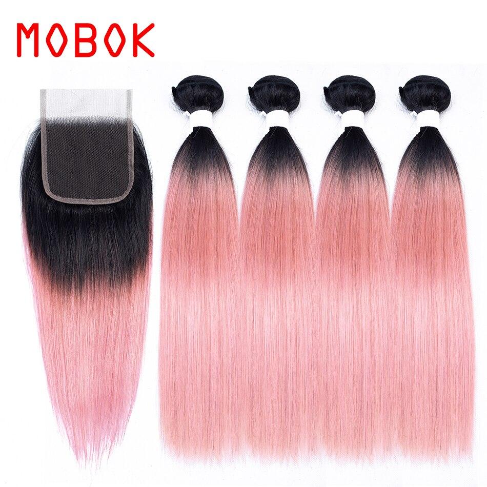 Mobok Pre Colored Brazilian Straight Human Hair Non Remy