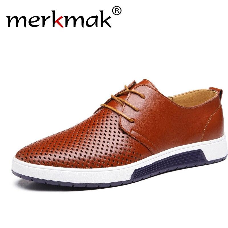 Neue 2018 Sommer Marke Casual Männer Schuhe Herren Wohnungen Luxus Echtes Leder Schuhe Mann Atmen Löcher Oxford Große Größe Freizeit schuhe