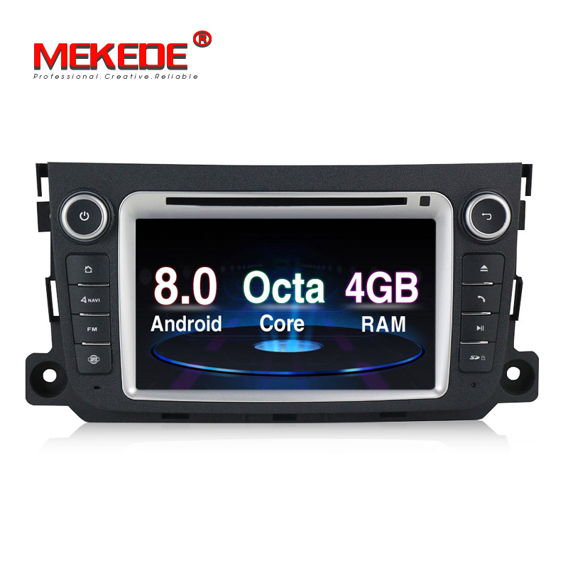 8Core Android8.0 RAM 4G  ROM 32G HD screen 1024*600 Car Audio for Benz Smart Fortwo 2011 2012 2013 2014 with radio BT ipod