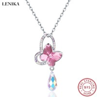 LEKANI 2018 NEW 925 Silver Butterfly Necklaces For Women Fashion Lovely Crystals From Swarovski Necklaces Pendants