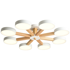 Image 5 - Потолочная люстра BOTIMI 220 В 110 В для гостиной, современный белый круглый блеск, деревянные светильники для спальни, потолочные светильники для помещений
