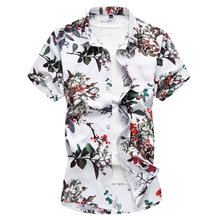 fashion mens shirts casual slim fit 2018 summer new print short sleeve linen shirts men plus size 7XL