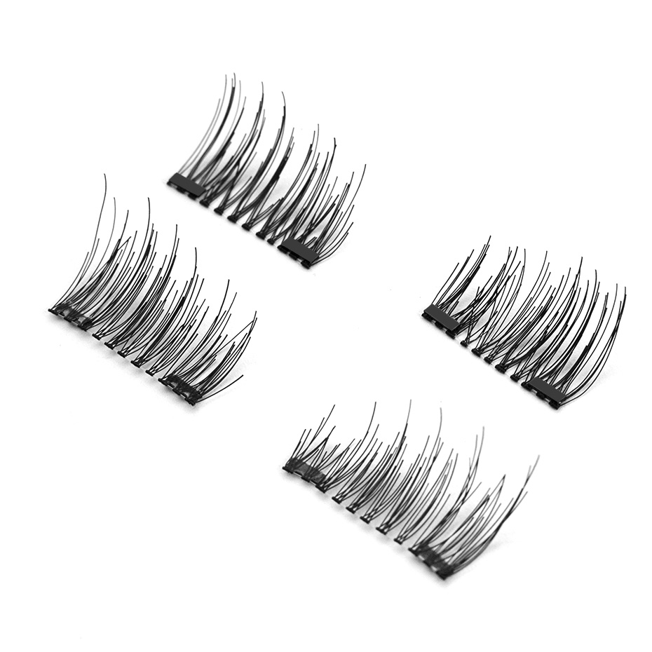 Genailish Double Magnet Eyelashes 6D False Lashes Synthetic fiber Eyelashes Makeup Eyelash Extension maquiagem With Round Box CT