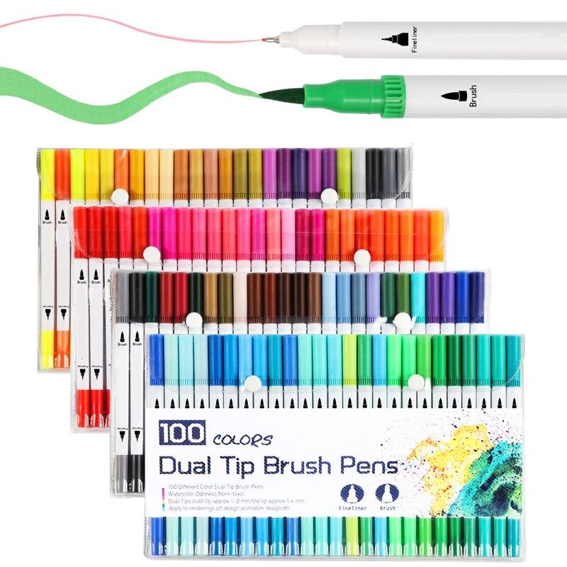 Fineliner Brush Pen Set Water-based Ink Dual Tip Drawing Pens Watercolor Marker Coloring Brushpen Sketch Markers Art Supplies
