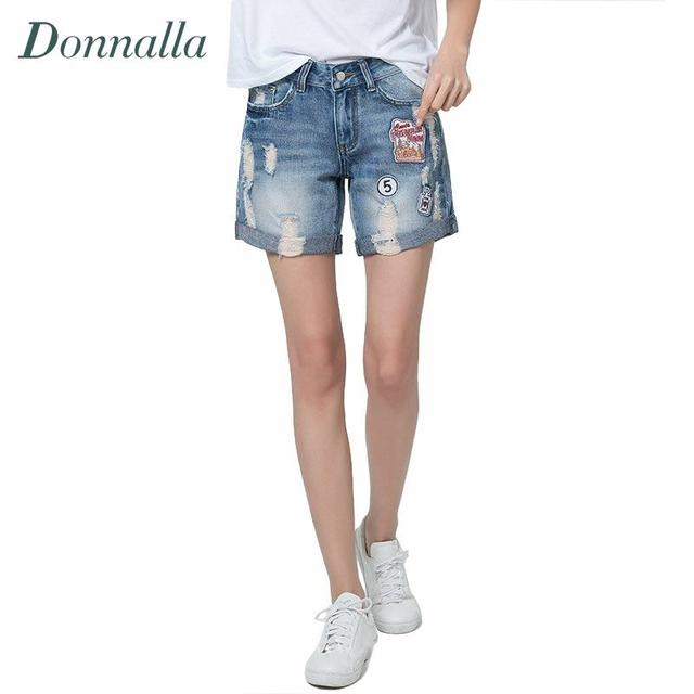 Patch Design Denim Shorts Womens Appliquies Jeans Shorts Street Style Curling Denim Short Patch Ripped Cotton Women Shorts Brand