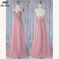 Elegant 2018 Evening Dresses Long with Appliques Sweep Train Spaghetti Straps Chiffon Formal Evening Party Dress Custom Made
