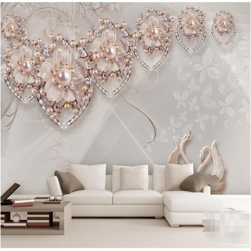 Us 15 45 Benutzerdefinierte Jeder Grosse Moderne Wand Tapete Wohnzimmer Beige Schmuck Swan Luxus Wandverkleidung Schlafzimmer Wandbild Hintergrund