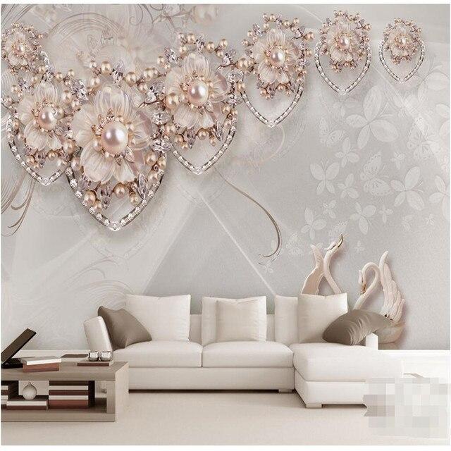 Benutzerdefinierte Jeder Größe Moderne Wand Tapete Wohnzimmer Beige Schmuck  Swan Luxus Wandverkleidung Schlafzimmer Wandbild Hintergrund Tapeten