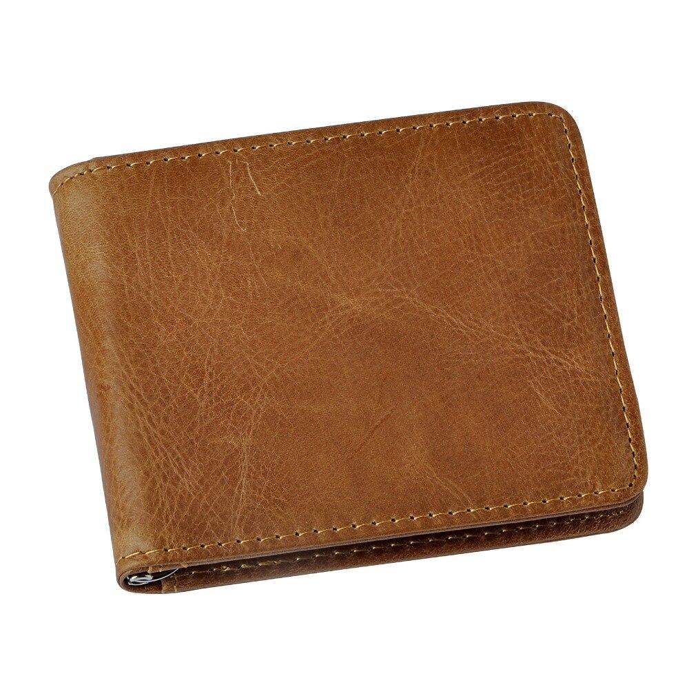 Quality Male Genuine Leather Design Fashion  Slim Wallet Front Pocket Money Clip Mini Bill Purse For Men 1055-l