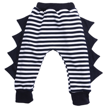 Boys Girls Baby Bottom Trousers Baggy Harem Pants PP Pants Striped Dark Blue Dinosaur Pants Baby Clothes Long Harem Pants 0-4Y