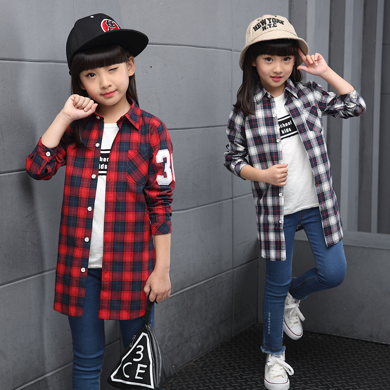 2017 Spring Autumn Girl Long Plaid Blouses For Girls Shirts Long Sleeve Cotton Coats Girls Outerwear Children Clothing Tops 3-13