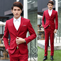 free shipping 7 colors 2015 new arrival mens suit 3-piece double breasted casual wedding dress groomsman suits tuxedos for men
