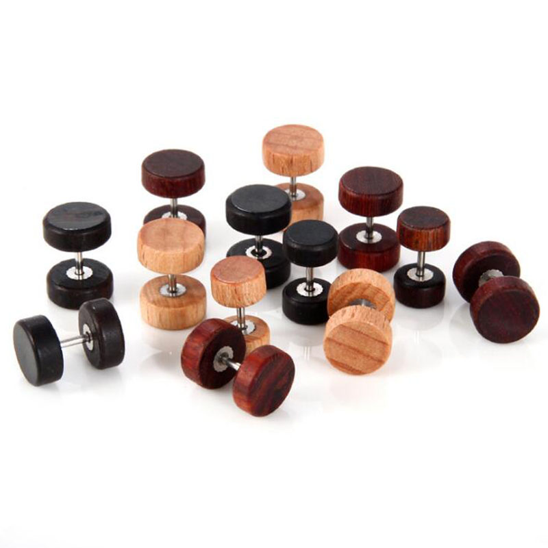 Newest hip hop double sided round wooden earrings for men women Punk gothic barbell earrings studs wood earing
