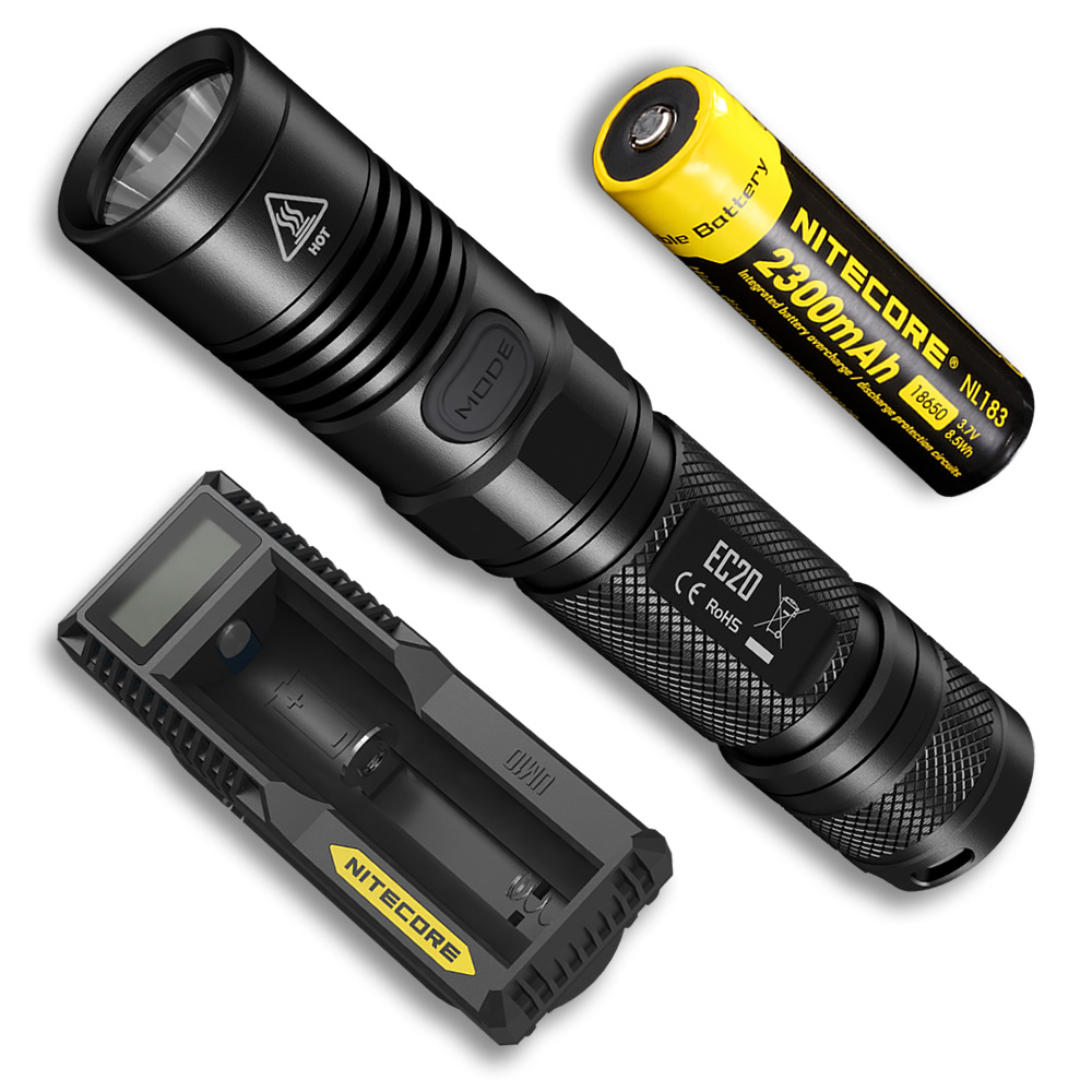 2019 new NITECORE EC20 Flashlight with 18650 Rechargeable Battery UM10 Charger Waterproof Outdoor Portable Torch Free