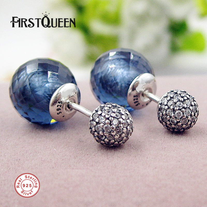 FirstQueen European Brand Shimmering Drops, Midnight Blue Crystals Stud Earrings Gift for Mothers Day Fine Jewelry