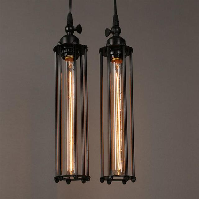wire cage light fixtures antique industrial edison vintage style pendant hanging lights fixture metal wire cage with black rope for bar