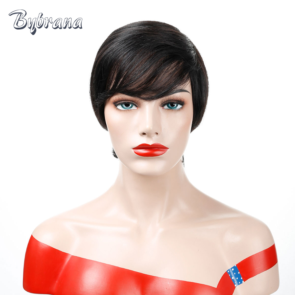 Bybrana Black None Lace Short Straight Human Hair Wigs Remy Brazilian - Human Hair (For Black)
