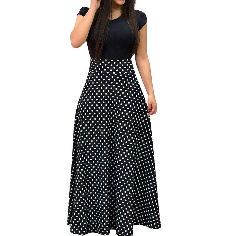 8b921d764c 2018 New Arrival Women Fashion Summer Black Elegant Casual Party Dress  Short Sleeve Polka Dots Print