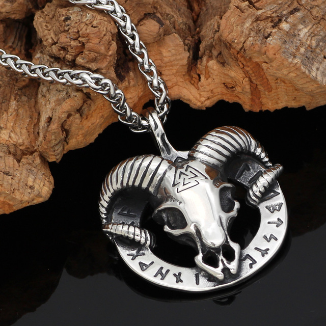 STAINLESS STEEL NORDIC VIKING THOR SKULL GOAT VALKNUT NECKLACE