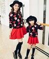Семья одежда мультфильм толстовка юбки , соответствующие одежды мать / мама и дочь платье одежды , соответствующие семьи стиль комплект RB19