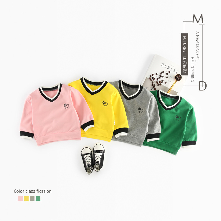 6m-3T Kids Baby Boys Sweatshirts Cartoon Long Sleeve V-neck Tops Spring Suit Clothing Childrens T Shirt Hoodies Costume