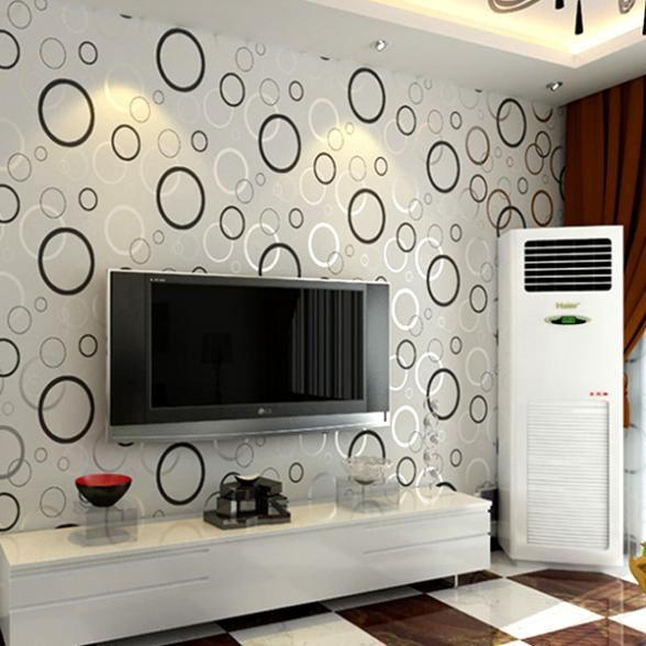 Contracted Fashion Modern 3D Printing Wallpaper Roll Circle Living Room  Light Grey Printing Vinyl Paper Wallpapers