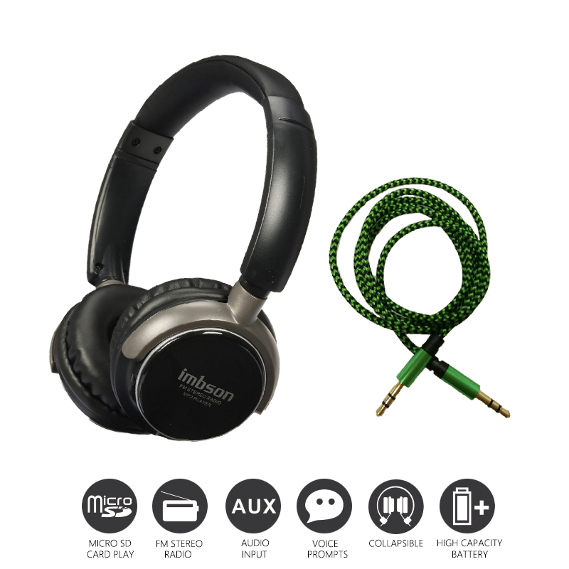 Economic Set: Original NIA 8001 + AUX Cable a Set Multifunctional Headphone mp3 player with FM SD Card slot economic set original nia 8809s 8 gb micro sd card a set wireless headphone sport for tv with fm