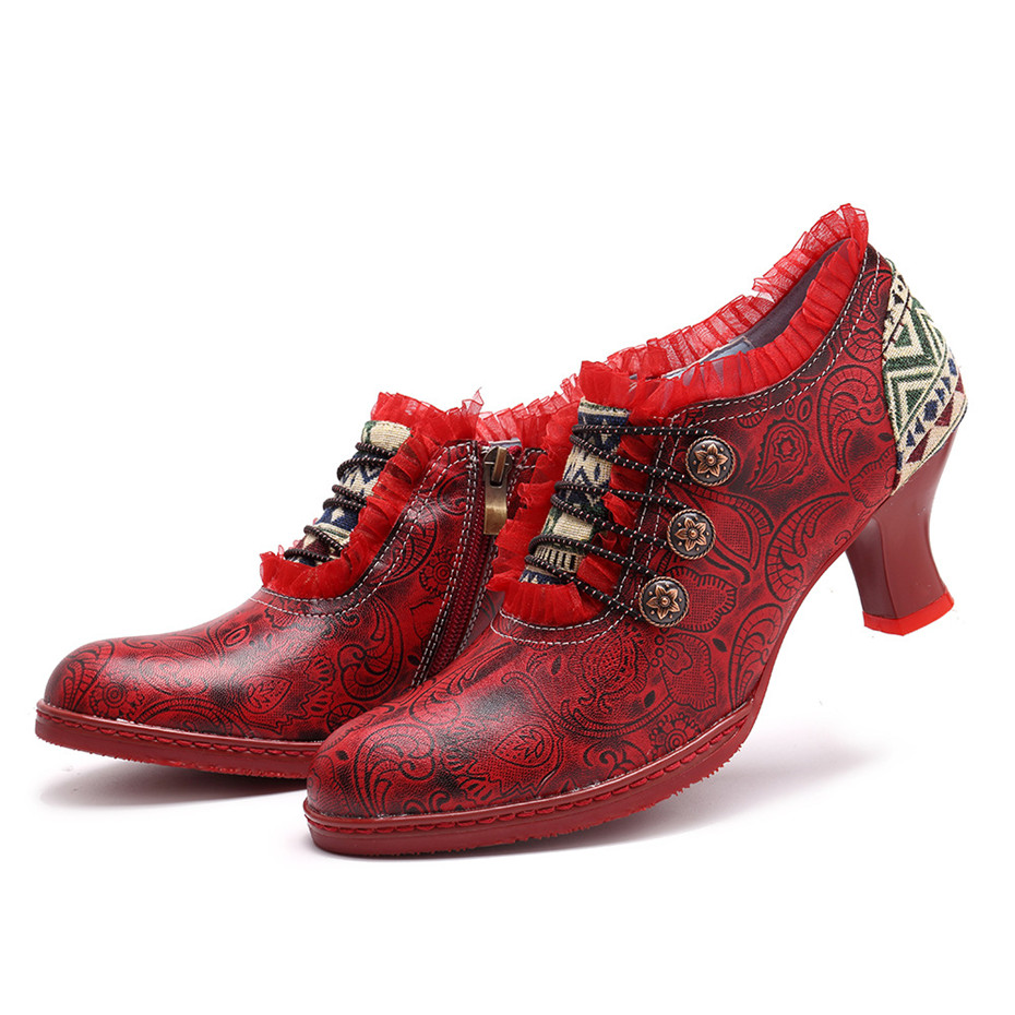 Wine Glasses Women Pumps European Vintage Hand Genuine Leather Shoes Embossed Stitching Spanish Style Four Seasons Women's Shoes (14)