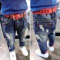 3-7Years niños jeans niños jean pantalones niños bebés pantalones vaqueros casual lindo agujeros niños del otoño del resorte pantalones de mezclilla