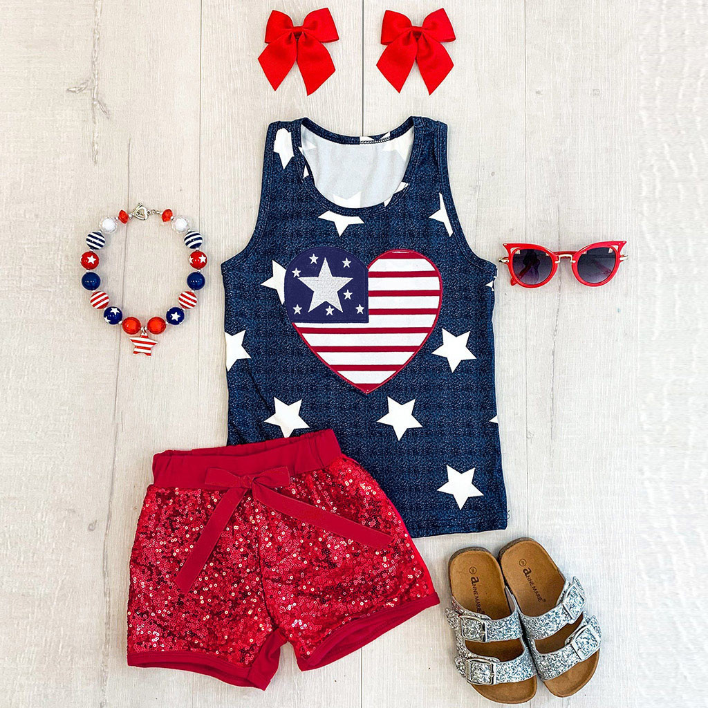 Baby Clothes Newborn Toddler Baby Flag Day 4th of July Stars Stripe Print Patriotic Tops+Shorts Baby Girl Summer Clothes Set
