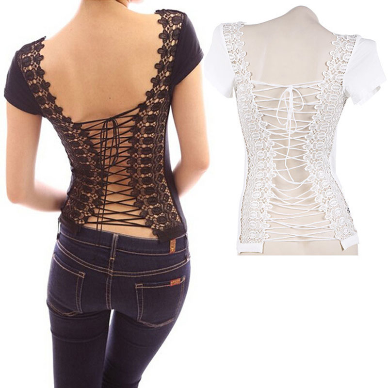 Tee Shirt Women Embroider Short Sleeve Sexy Backless Tops Bandage O-neck Lace Splicing Woman T-Shirt  -MX8