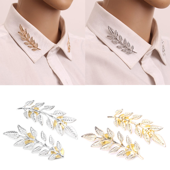 1 Pair Vintage Wheat Leaf Branch Gold Silver Plated Neck Tip Brooch Collar Pin