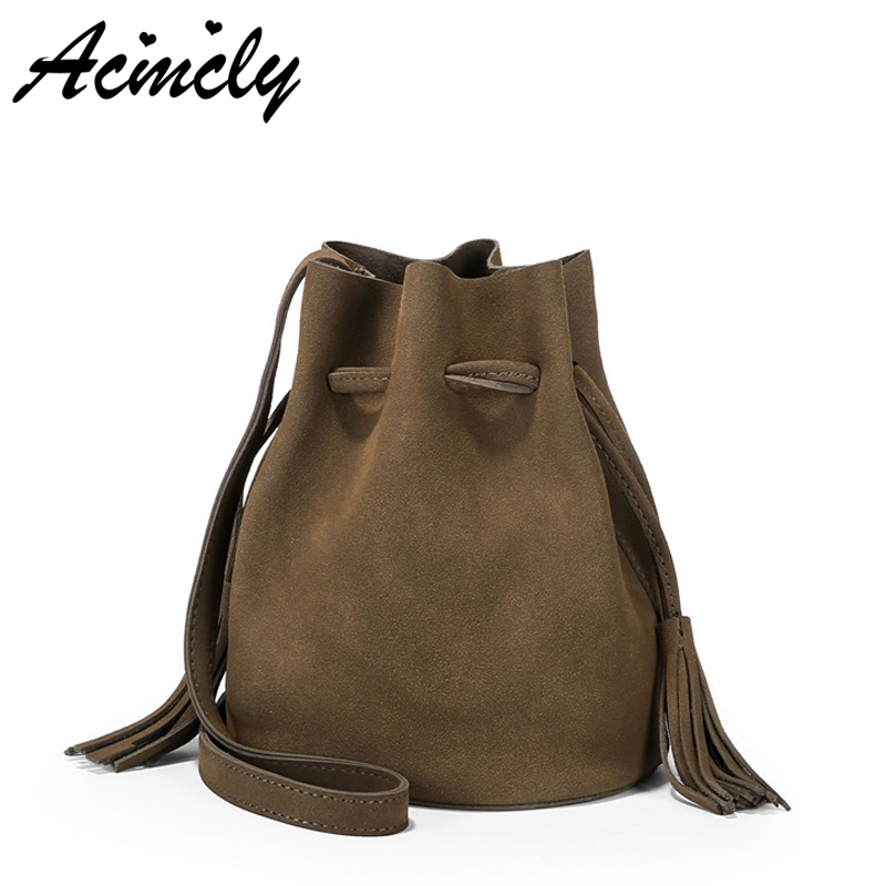 2018 Hot Sale Woman Tassel Drawstring Bucket Handbag Ladies Scrub PU Shoulder Bag Large Tote Purse Bolsa  Cross-body Bag A49/O candy color women shoulder bag cross body handbag bucket satchel purse tassel summer bag cow leather ladies designer bag
