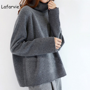 Lafarvie 2019 New Cashmere Blended Knitted Sweater Women Tops Turtleneck Autumn Winter Female Pullover Loose Casual Warm Sweater turtleneck pullovers loose basic sweater autumn and winter tops solid cashmere sweater women loose thick mink cashmere sweater