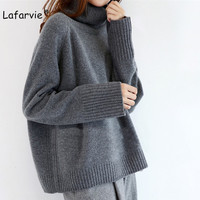 Lafarvie 2019 New Cashmere Blended Knitted Sweater Women Tops Turtleneck Autumn Winter Female Pullover Loose Casual Warm Sweater