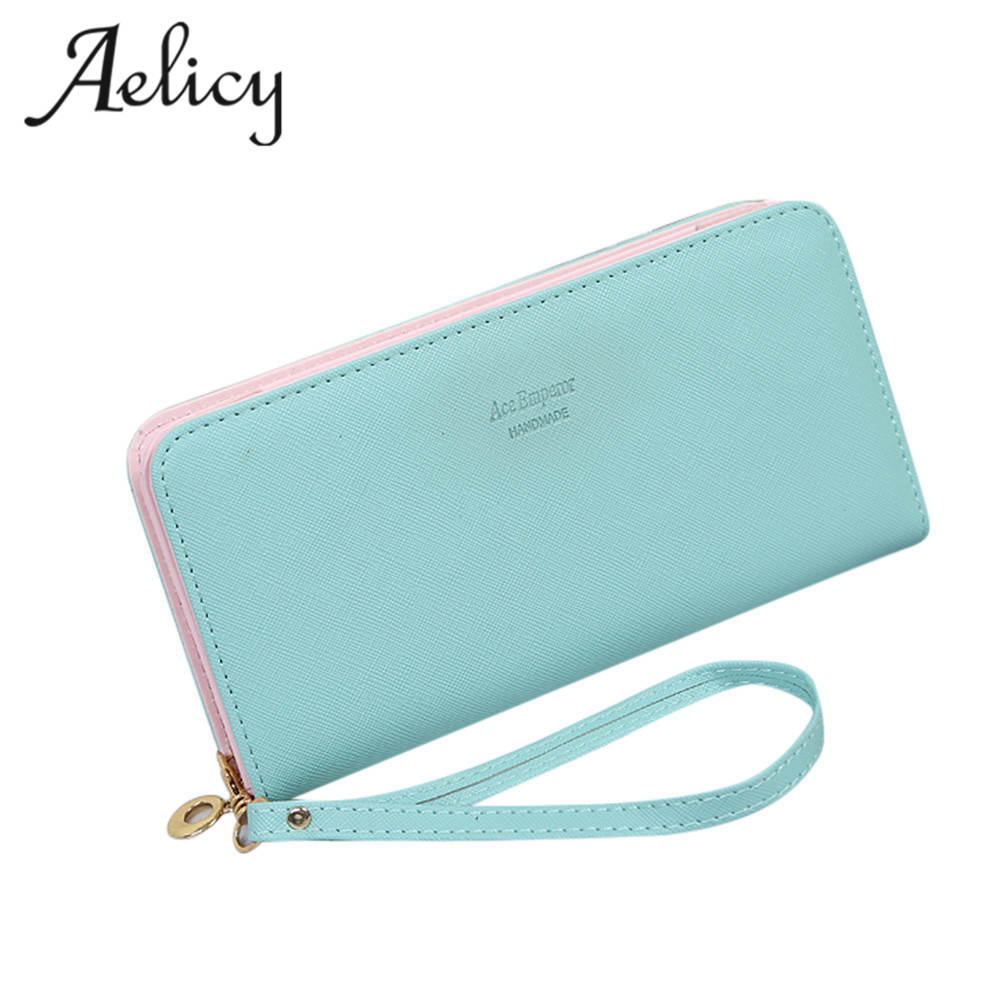 Aelicy Fashion Women Wallet  Luxury Female Long Wallets Ladies PU Leather Zipper Purse Card Holders Clutch Money Bag carteira large capacity clutch purse female card bags new women long star wallet fashion banquet zipper pu leather wallets