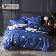 Liv-Esthete Fashion Star Blue Bedding Set Color Duvet Cover Flat Sheet Bedclothes Single Double Queen King Bed Linen For Adult