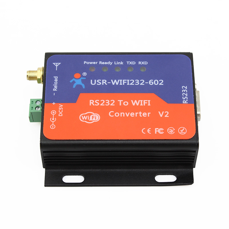 цена USR-WIFI232-602-V2 Free Shipping WIFI To RS232 Converter With Built-in Webpage