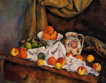 100% hand made Oil Painting Reproduction on linen canvas,still life,fruit-bowl-pitcher-and-fruit by paul Cezanne,Museum quanlity